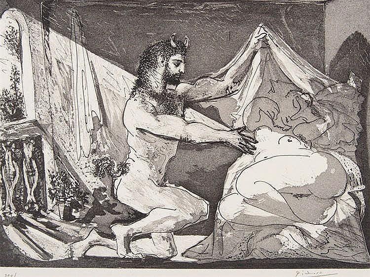 PABLO RUIZ PICASSO (Malaga, 1881-Mougins, 1973) Faune dévoilant une Dormeuse (Jupiter et Antiope, d'après Re