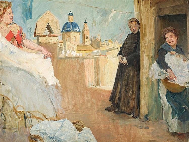 IGNACIO PINAZO (Valencia,1849- Godella,1916) Lavanderas de Godella