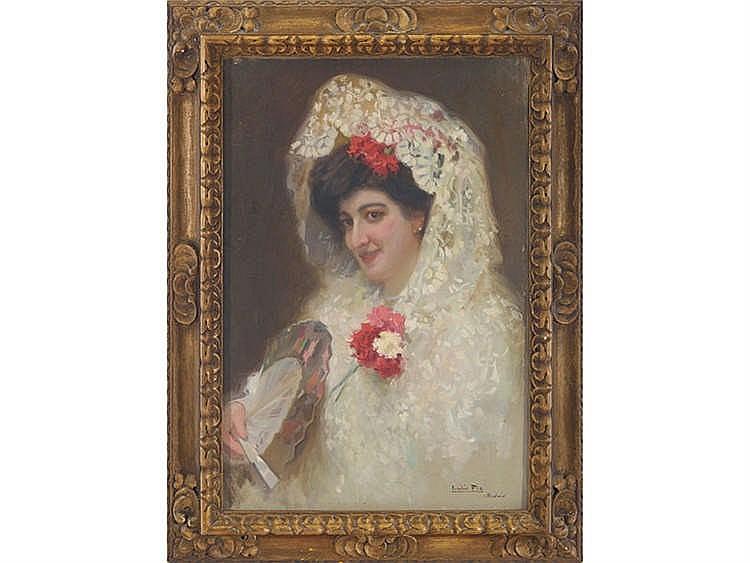 CECILIO PLA (Valencia, 1860-Madrid, 1934) Dama con mantilla