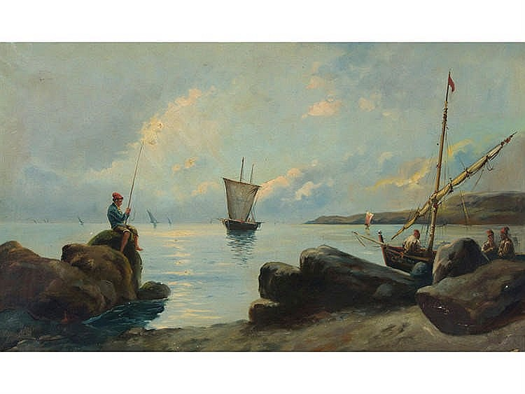 RAMON MARTI ALSINA (Barcelona,1826-1894) Marine with Fishermen