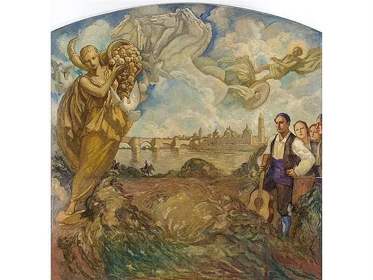 FRANCESC LABARTA PLANAS (Barcelona, 1883 -1963) Visión alegórica del Pilar de Zaragoza