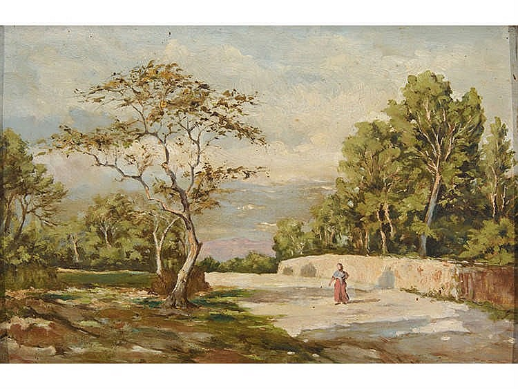 ATTRIBUTED TO ANTONIO RIBAS (1845-1911) A Landscape with a Peasant Woman on a Country Road
