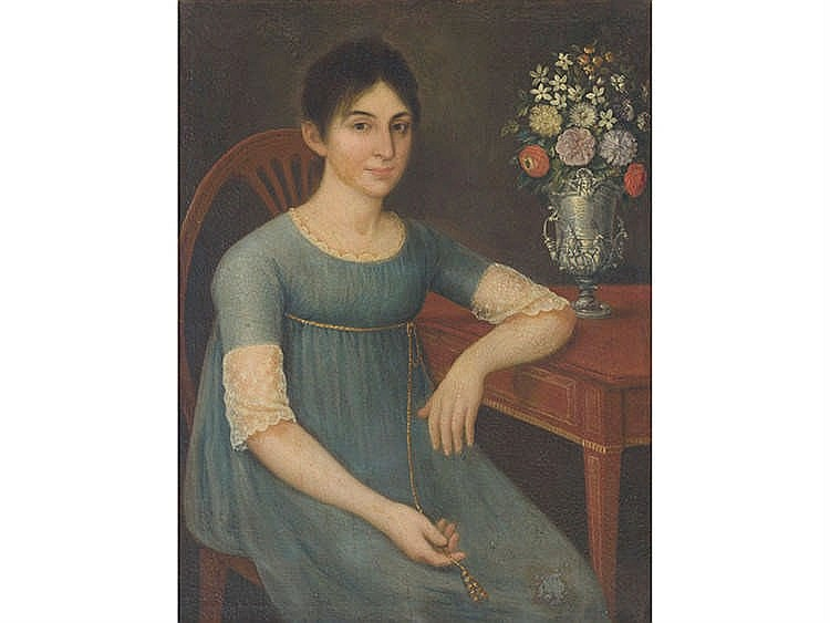 SPANISH SCHOOL, 19TH CENTURY Woman with Vase of Flowers