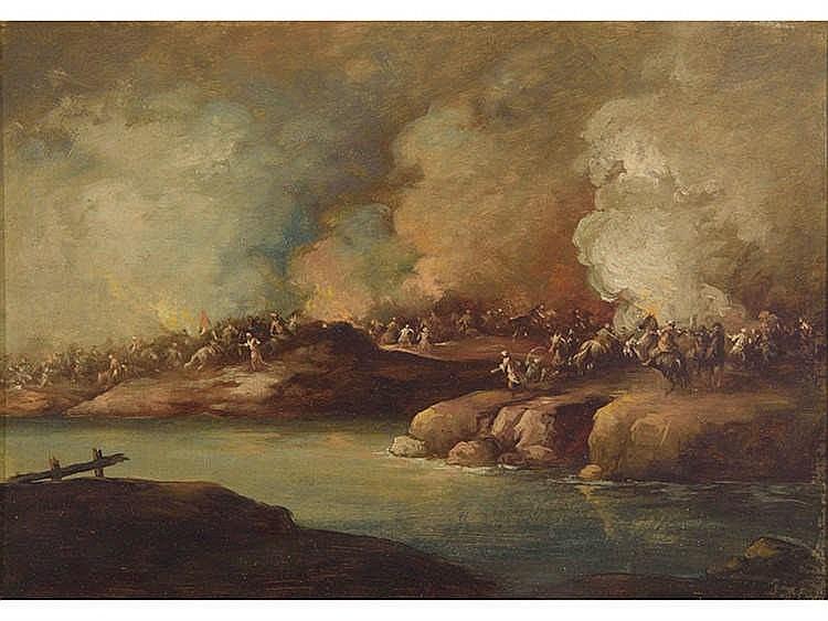ATTRIBUTED TO EUGENIO LUCAS-VELÁZQUEZ (Madrid, 1817-1870) Batalla de mamelucos