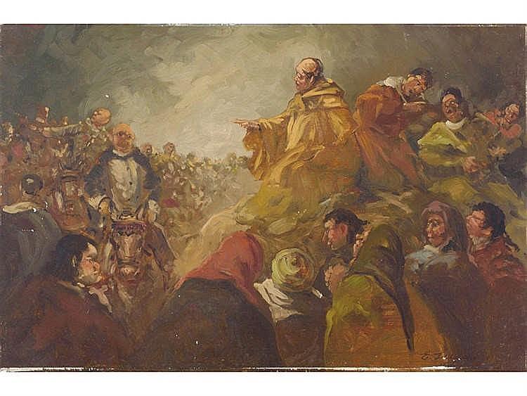 EUGENIO LUCAS VELÁZQUEZ (Madrid, 1817-1870) Escena satirica