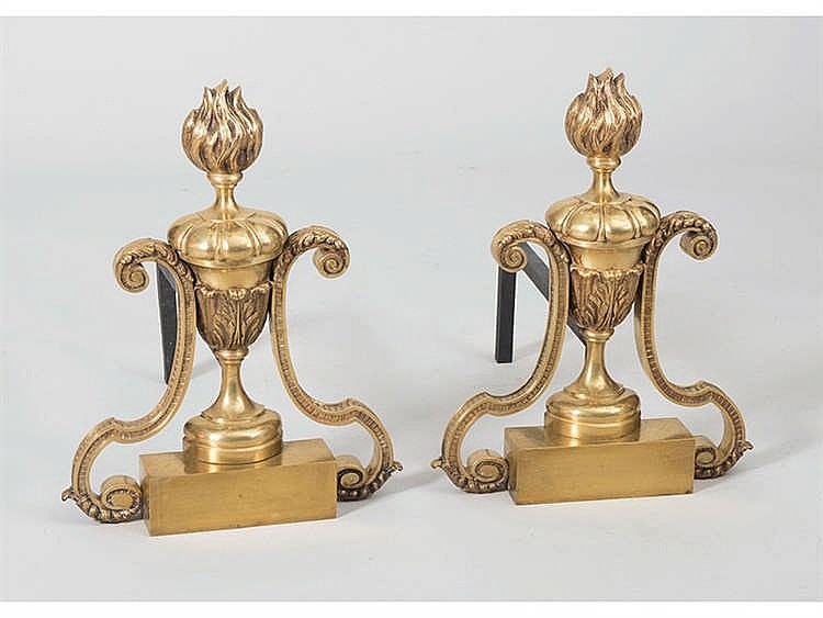 A PAIR OF FRENCH STYLE ANDIRONS