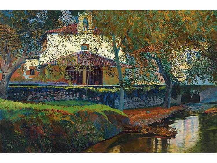 CARLOS LEZCANO (Madrid, 1871-1929) River Landscape