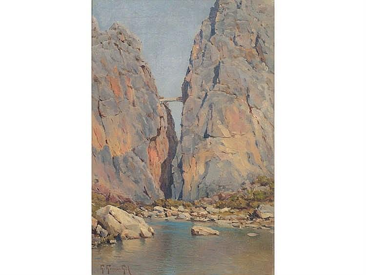 GUILLERMO GÓMEZ GIL (Malaga, 1862-Cádiz, 1942) El Tajo de Ronda