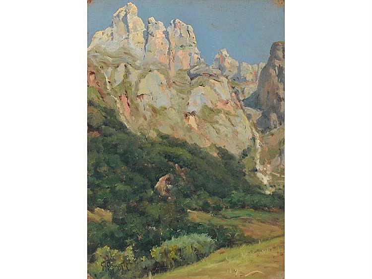 GUILLERMO GÓMEZ GIL (Malaga, 1862-Cádiz, 1942) Rocky Mountain Landscape