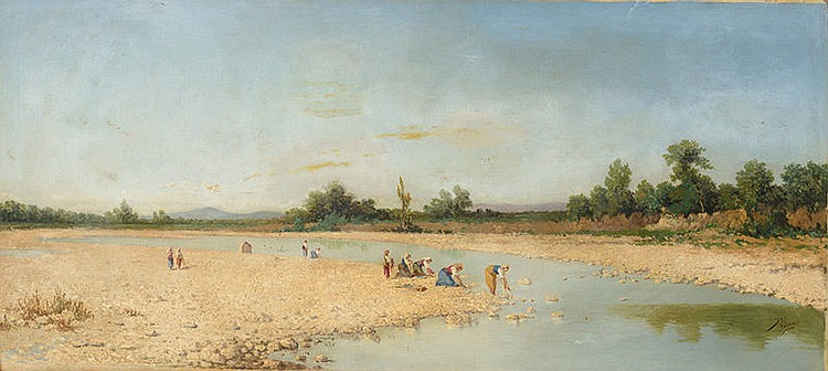 JOSÉ VILLEGAS (Sevilla, 1844 - Madrid, 1921) Washerwomen at the river