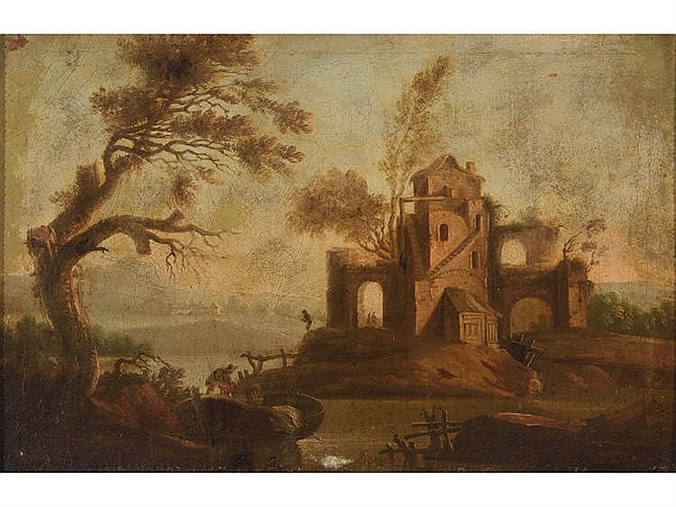 SPANISH SCHOOL, 18TH CENTURY Landscape with Characters
