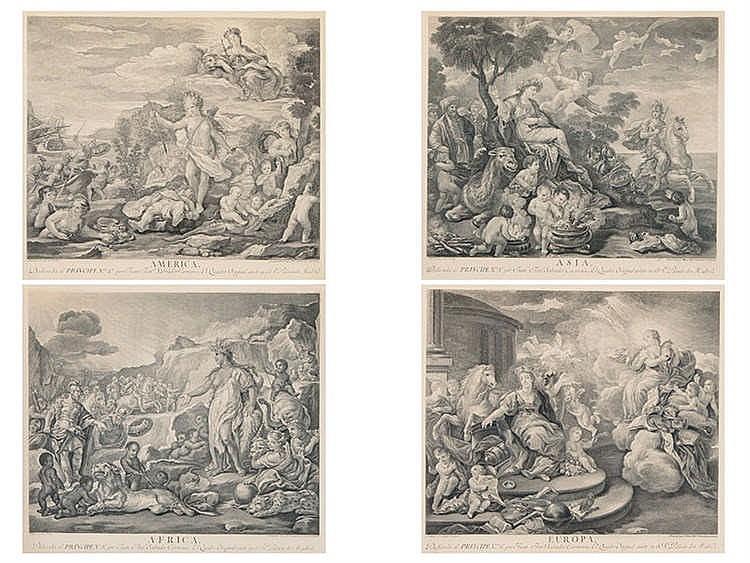 JUAN ANTONIO SALVADOR CARMONA (1740-1805) Alegorías de los continentes