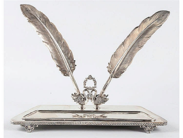 A SILVER INK STAND