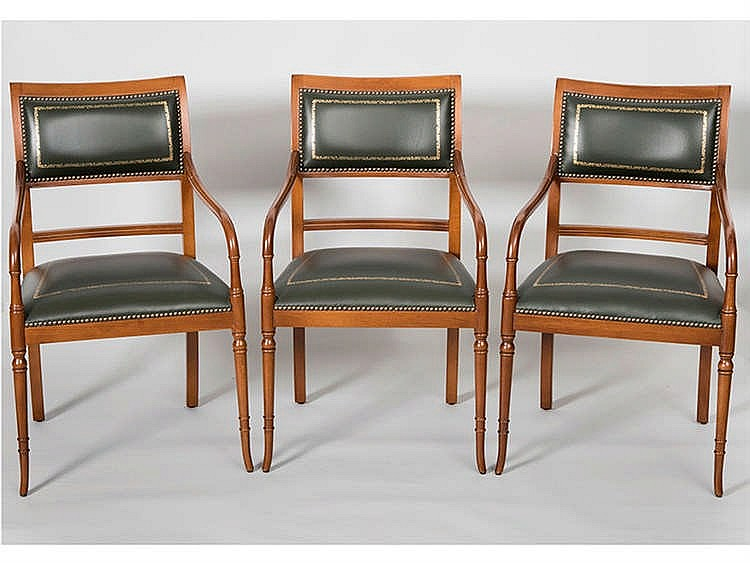 A SET OF SIX ENGLISH STYLE ARMCHAIRS