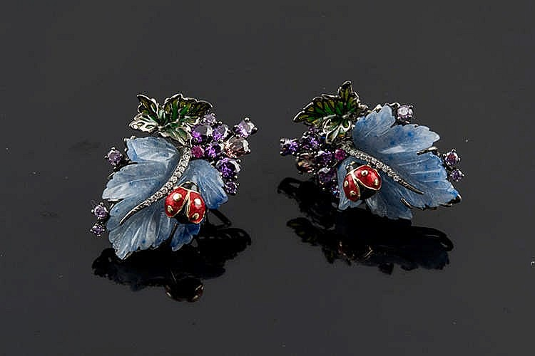 A PAIR OF SILVER, ENAMEL AND COLORED GEMSTONE EARRINGS