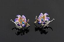 A PAIR OF GILT SILVER, ENAMEL AND COLORED GEMSTONE EARRINGS