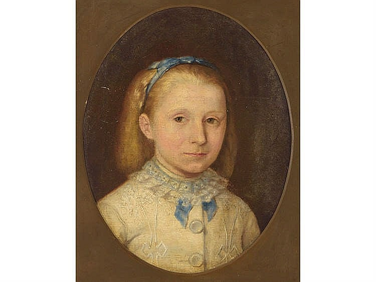 SPANISH SCHOOL, 19TH CENTURY Portrait of a Girl with Blue Bow