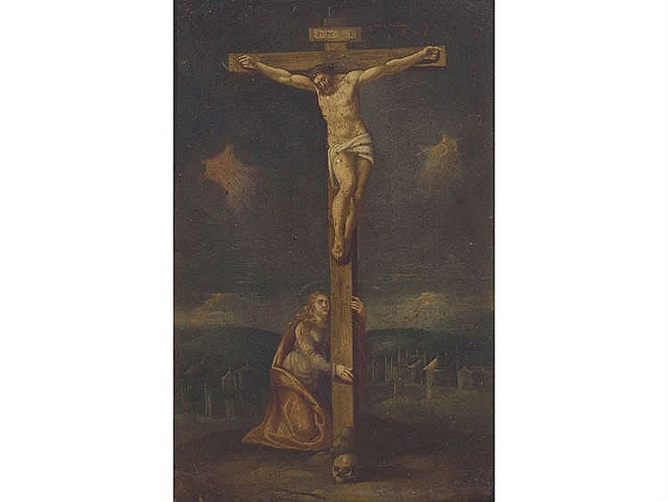 SPANISH SCHOOL, 17TH CENTURY Christ Crucified and The Penitent Magdalene