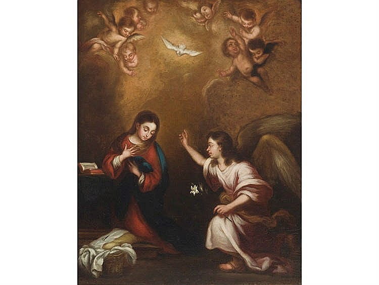 FOLLOWER OF BARTOLOME ESTEBAN MURILLO Annunciation