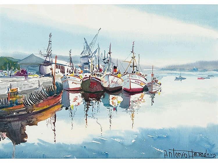 ANTONIO HEREDERO GUZMÁN (Madrid, 1918- Vigo, 2008) Vista de puerto