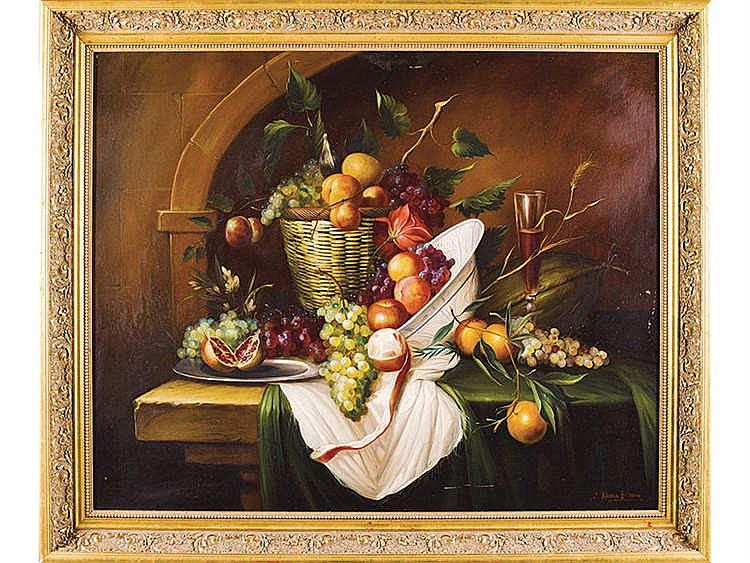 JUAN ALONSO ESTEBAN (20th Century) Still Life of Fruits