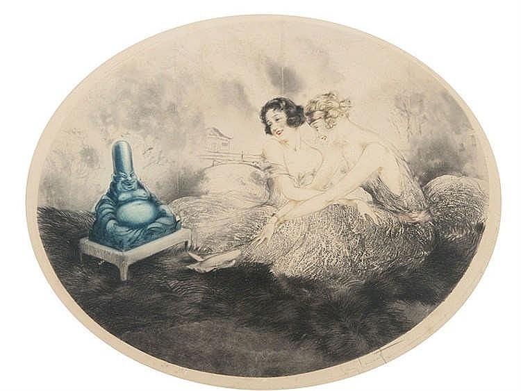 LOUIS ICART (Toulouse, 1880-Montmartre, Paris, 1950) Dos mujeres y figura de Buda