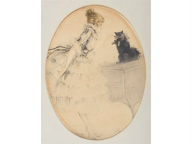 LOUIS ICART (Toulouse, 1880-Montmartre, Paris, 1950) Mujer con perro.