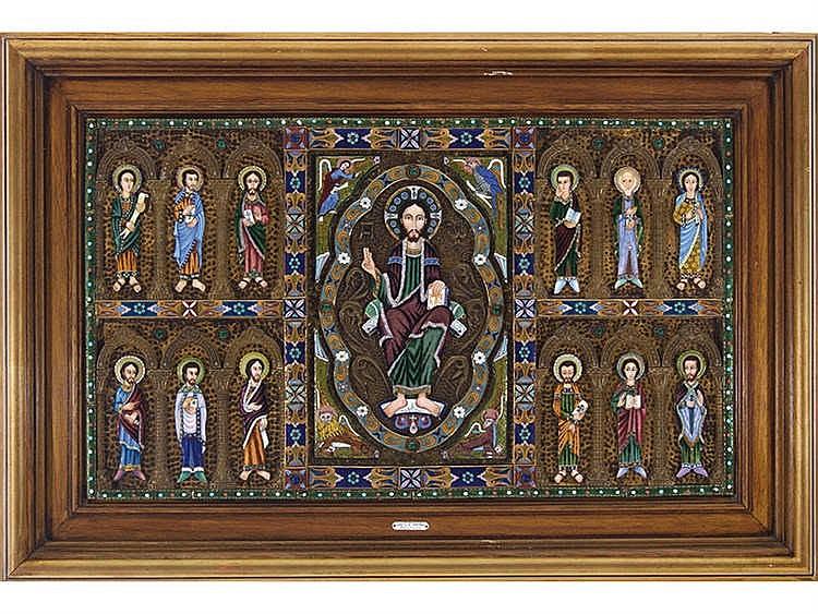 LUIS GARCIA HUERTAS (Salamanca, 20th Century) An Enamel Altar Frontal