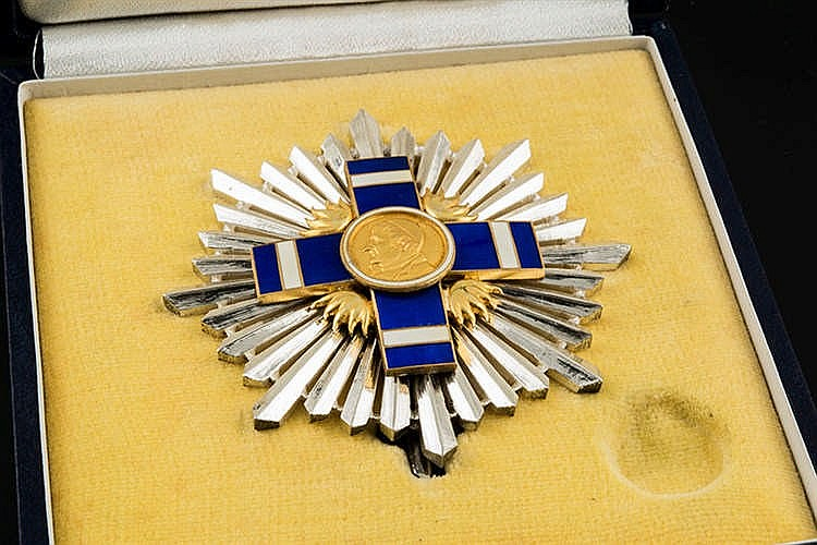 A SILVER AND ENAMEL RANK PIN