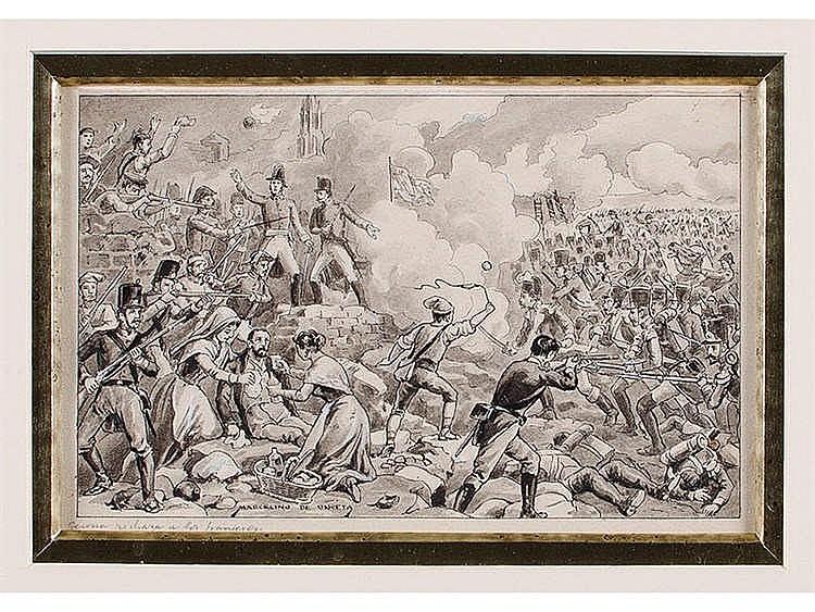 MARCELINO DE UNCETA (Zaragoza, 1835-Madrid, 1905) Gerona rechaza a los franceses