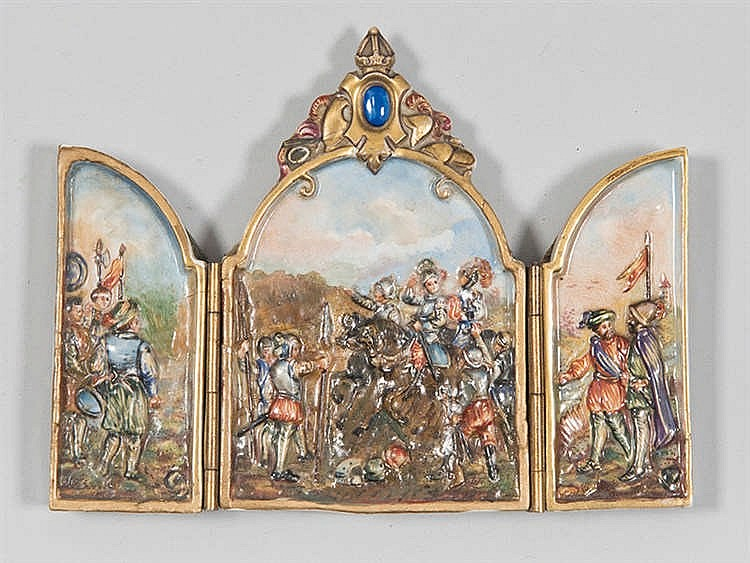 A PORCELAIN OF NAPLES TRIPTYCH, LATE 19TH CENTURY