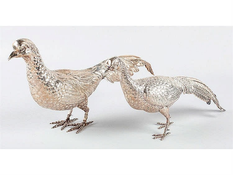 A PAIR OF SILVER PHEASANT FIGURES