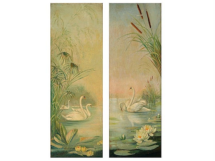 SPANISH SCHOOL, 19TH CENTURY Lake Landscapes with Swans