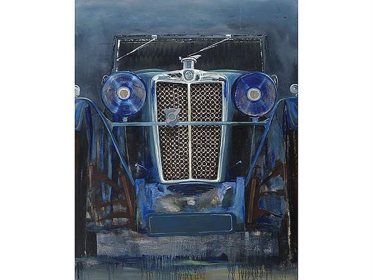 JULIO LAVALLÉN (Concordia, Argentina, 1957) Coche M. G. en azul.