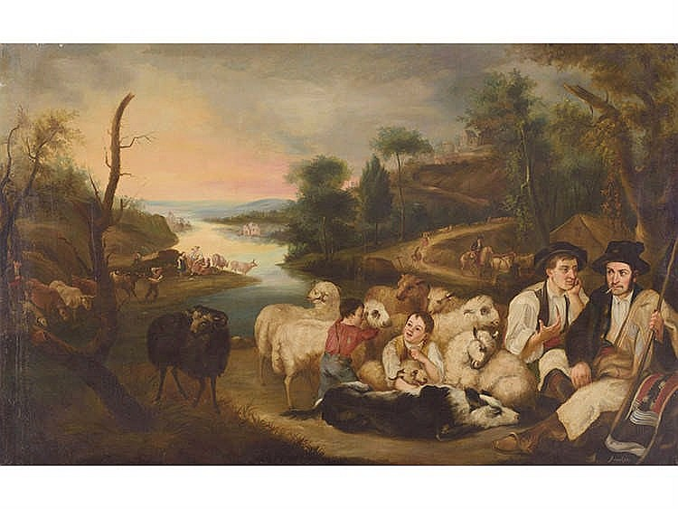 ANDRÉS CORTÉS (Seville, 1812-1879) Paisaje con pastores