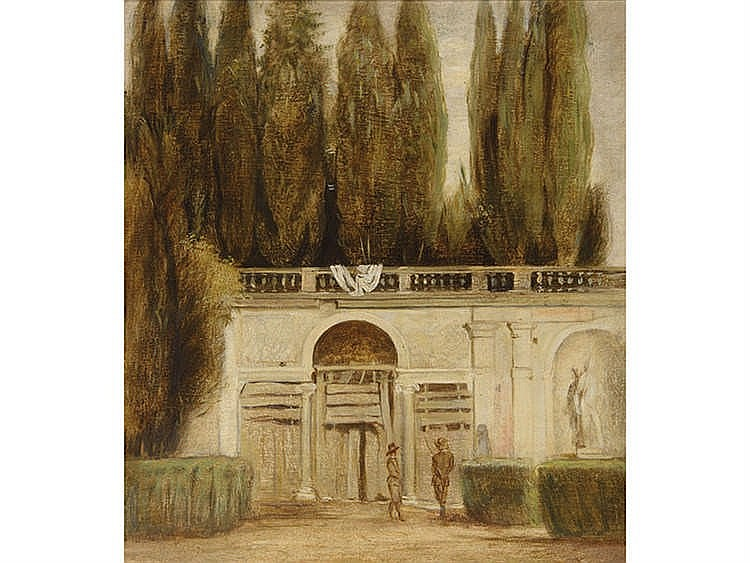 CONTEMPORARY SPANISH SCHOOL View of the Garden of Villa Medicis