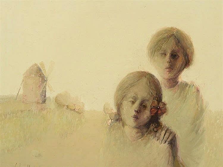 JUAN GUTIÉRREZ MONTIEL (Jerez de la Frontera, Cádiz, 1934-2008) Niños con molino