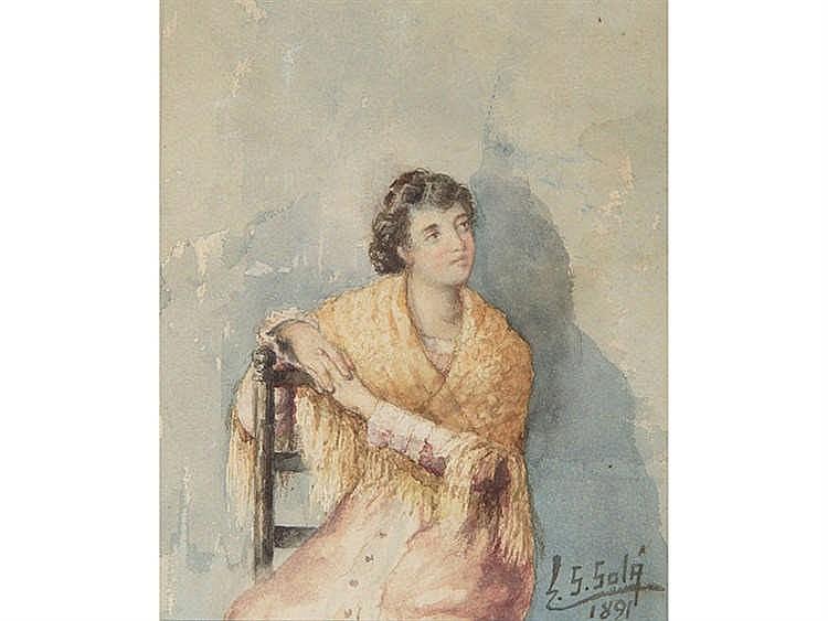 EDUARDO SÁNCHEZ SOLA (Madrid, 1869 - Granada, 1949) Muchacha con mantón