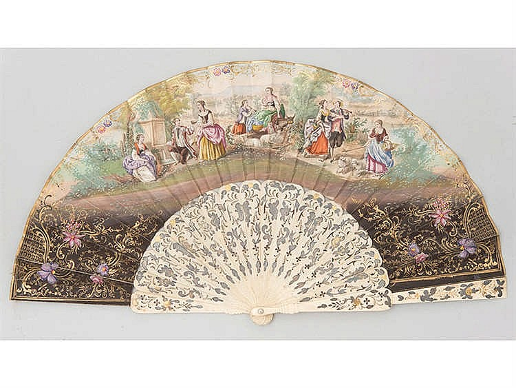 AN ELIZABETHAN HAND FAN, 19TH CENTURY