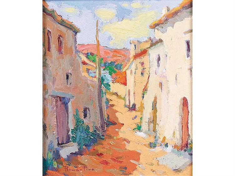 ANGEL ROMAN PINA (Alcoy, Alicante, siglo XX) Calle de pueblo