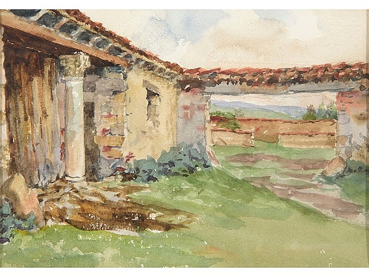 ANTONIO MAURA (Palma de Mallorca, 1853-Torrelodones, 1925) Landscape with house in ruins