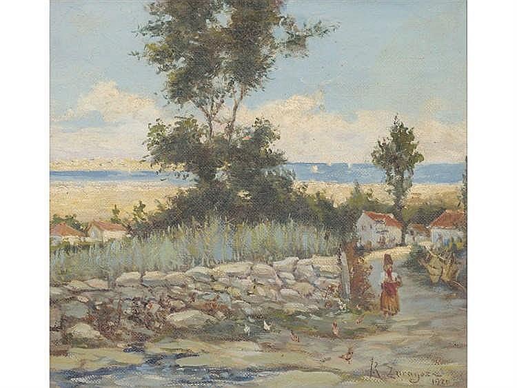 JOSÉ RAMÓN ZARAGOZA (Cangas de Onís, 1874-Madrid, 1949) Paisaje con campesina