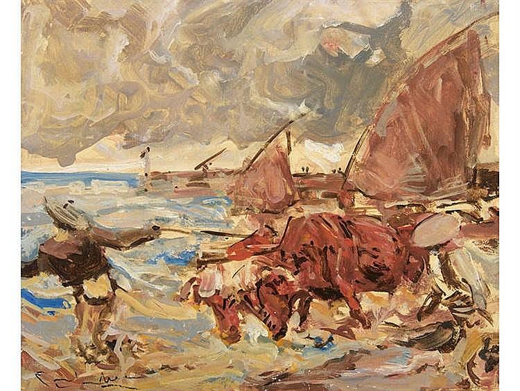 ÁNGEL GONZÁLEZ MARCOS (1900-1977) Sacando los bueyes