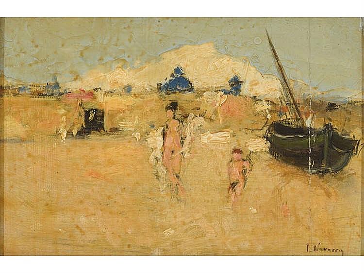 JOSÉ NAVARRO LLORENS (Valencia, 1867-1923) Personajes en la playa