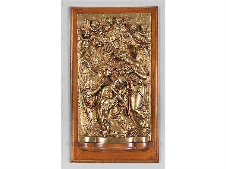 A GILT BRONZE RELIEF THE ANNUNCIATION