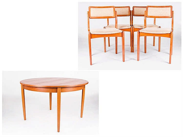 A DINING TABLE AND FOUR CHAIRS, CIRCA 1970