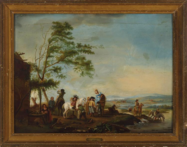 FOLLOWER OF WOUWERMAN 19th C. Escena con personajes a caballo