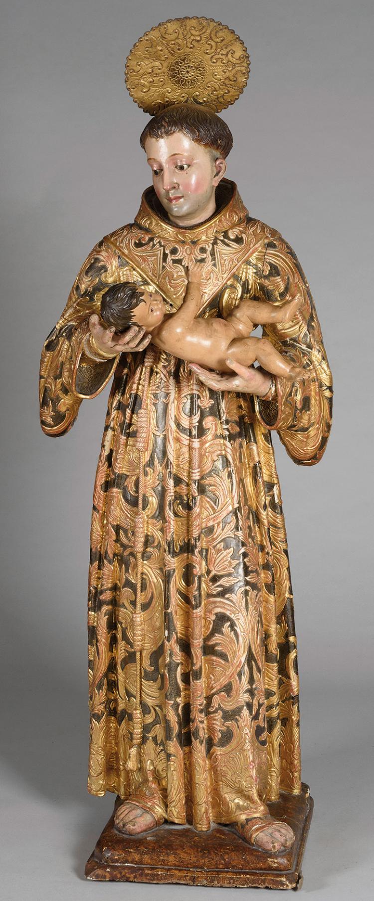 PEDRO LABORIA (Sanlúcar de Barrameda hacia 1700-Bogotá, hacia 1770) San Antonio de Padua con el Niño
