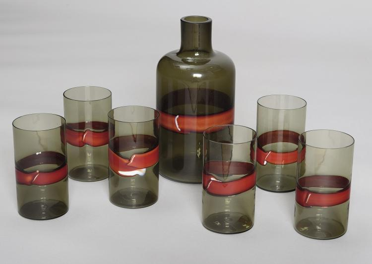 SIX WATER GLASSES AND BOTTLE. FLUVIO BIANCONI DESING.