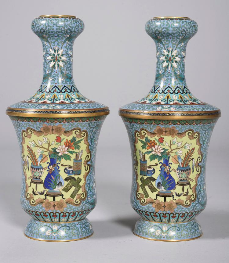 PAIR OF CLOISSONNÉ VASES, 20th C.